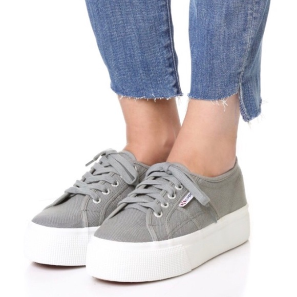 887fa5be3280 NIB Superga Platform Lace Up Grey Sneakers